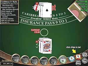 How to play Caribbean blackjack online