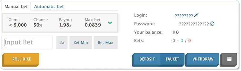 DiceCoin online dice gambling game