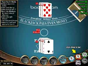 Play real money Face Up 21 online