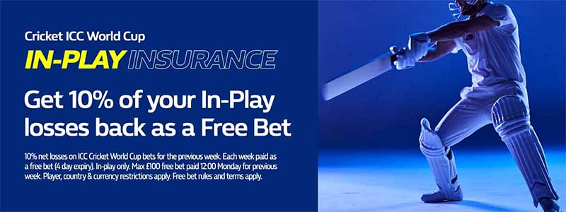 William Hill ICC World Cup - 10% losses as cash back