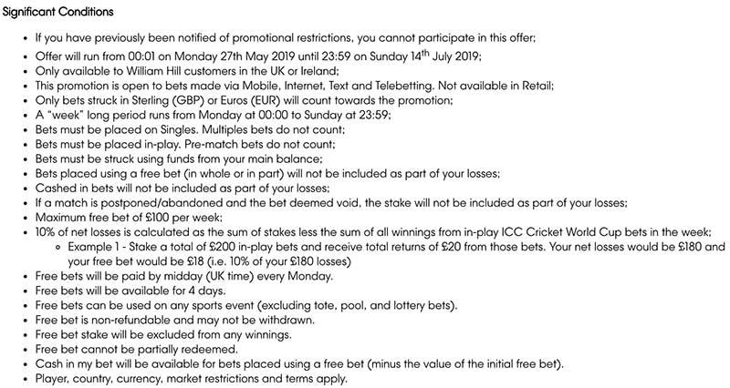 ICC WOrld Cup 10% cash back bonus at William HIll - T's and Cs