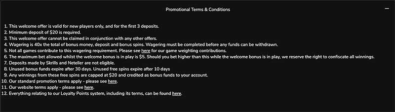 Jackpot Village sign up bonus terms and conditions