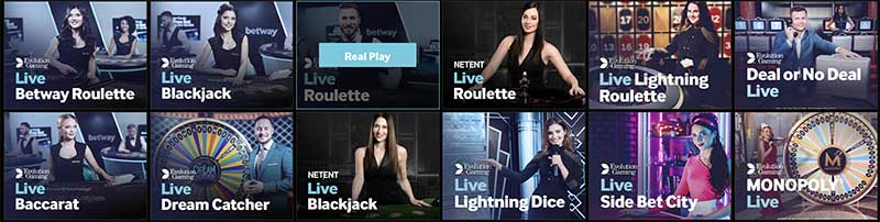Betway live casino promotions & games