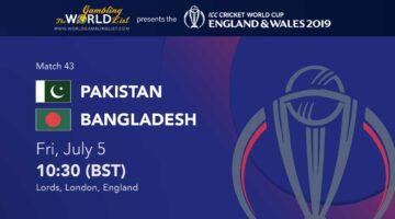 Pakistan vs Bangladesh prediction - Cricket World Cup 2019 betting