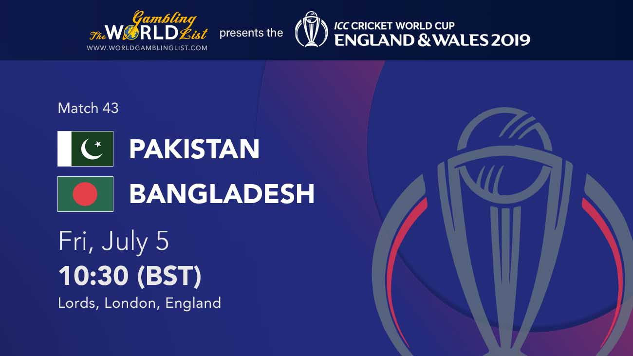 Pakistan vs Bangladesh prediction - Cricket World Cup 2019 betting