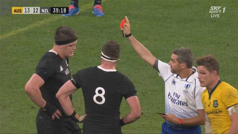 Scott Barrett was red-carded in the All Blacks shock Bledisloe Cup loss to Australia