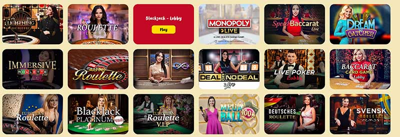 Live casino games at Casoola.com