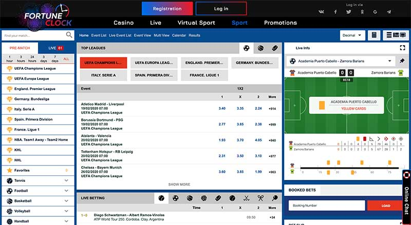 Fortune Clock sports betting online
