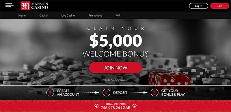 Mansion Casino sign up bonus