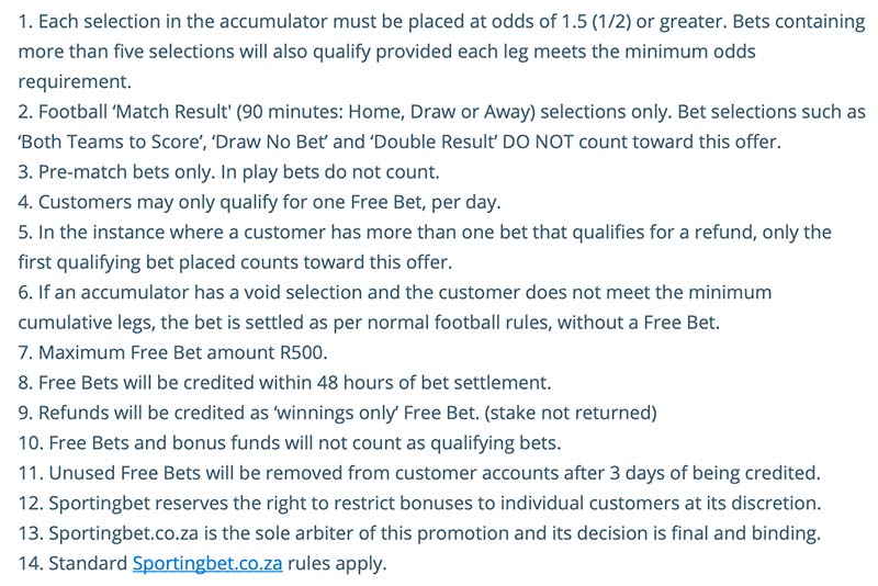 Sportingbet football acca promo terms and conditions